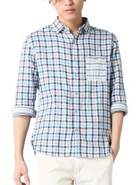 メンズ トップス シャツ Wガーゼ七分袖ギンガムチェックシャツ