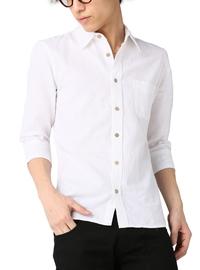 メンズ トップス シャツ 切り替えし綿麻七分袖シャツ