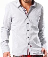 【3色のカジュアルラインでシャツが華やぐ!】トリコロールラインテープシャツ