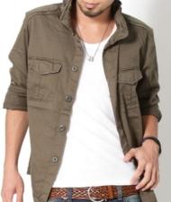 【立ち襟スタイルがオシャレの秘密★】M-65袖裏切り替えミリタリーシャツ