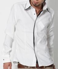 【20代の女の子人気1位になれちゃう!・・・かも★】2枚襟モノトーンシャツ