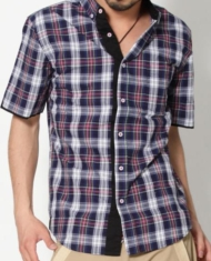 【オシャレでモダンで粋なやつなんです☆】ブラック使い半袖チェックシャツ