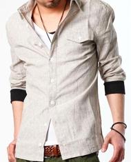 モテ系ファッションメンズ|【大ブレイク間違いなし!】ストライプリブ付き「麻混」7分袖シャツ