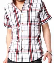 【良いデザインには女の娘が寄ってくる☆】うっすらクロスチェックデザイン半袖シャツ