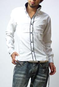 2枚襟シルエットチェックシャツ