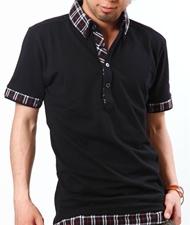 【必勝コーデがまた増えちゃいました!】2枚襟チェックレイヤードポロシャツ