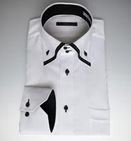 【形態安定】人気の定番!フェイク2枚衿白ドビーシャツ